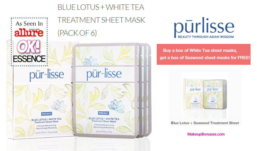 Receive a free 6-pc gift with your Blue Lotus + White Tea Treatment Sheet Mask (6) Blue Lotus + White Tea Treatment Sheet Mask (Pack of 6) purchase