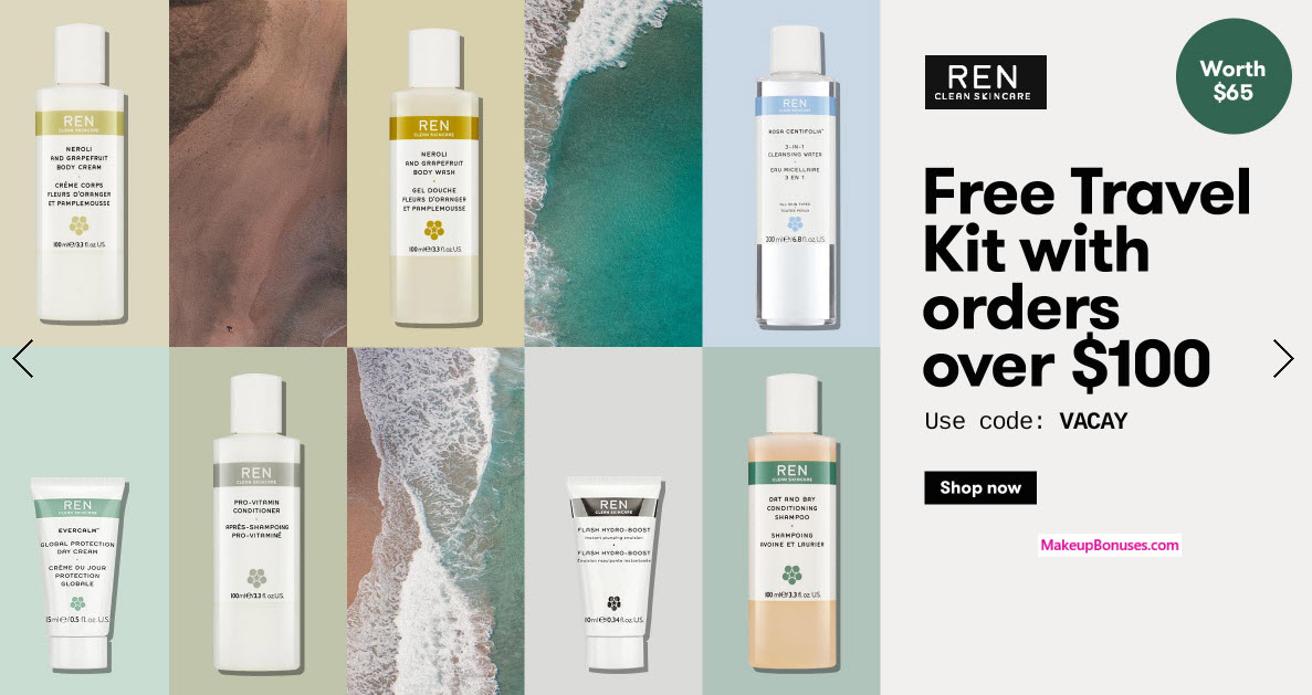 Receive a free 7-pc gift with your $100 REN Skincare purchase
