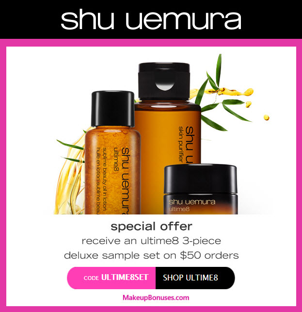 Receive a free 3-pc gift with your $50 Shu Uemura purchase