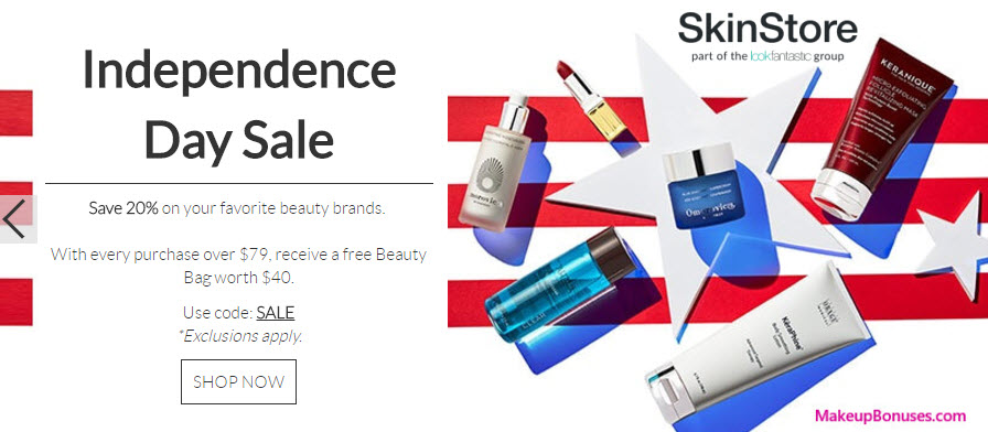SkinStore 20% Off - details at MakeupBonuses.com
