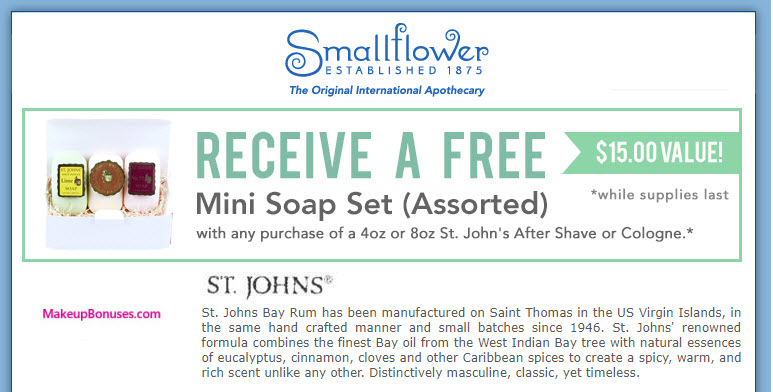 Receive a free 3-pc gift with your St. John's After Shave or Cologne (4oz or 8oz) purchase