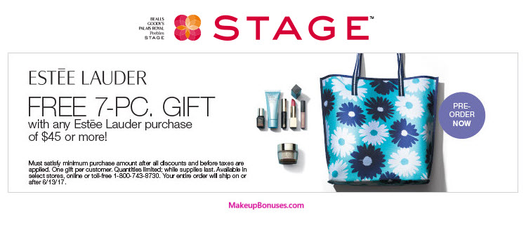 Estée Lauder 7-piece Free Bonus Gift with $45 Purchase at Stage Stores