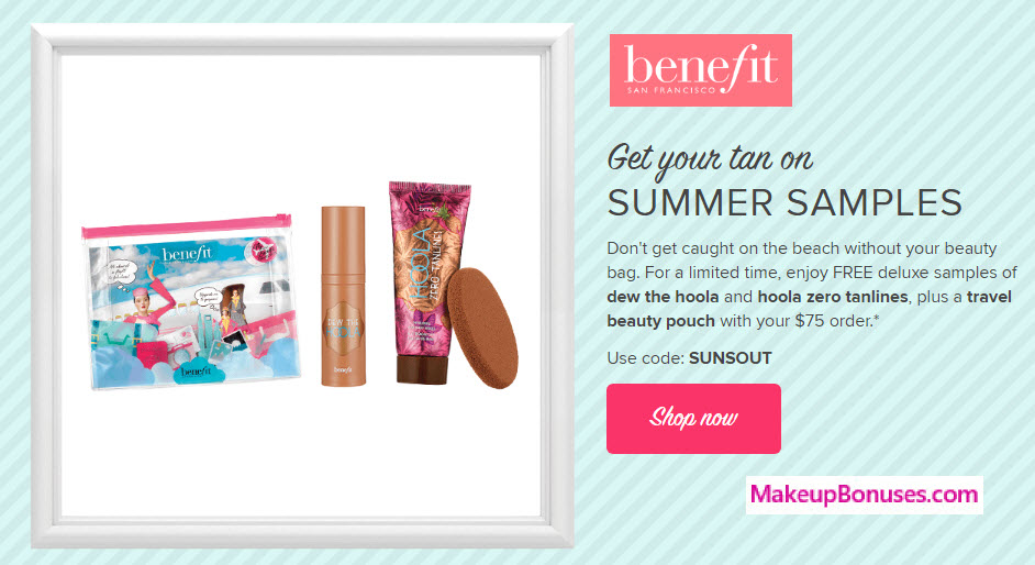 Receive a free 3-pc gift with your $75 Benefit Cosmetics purchase