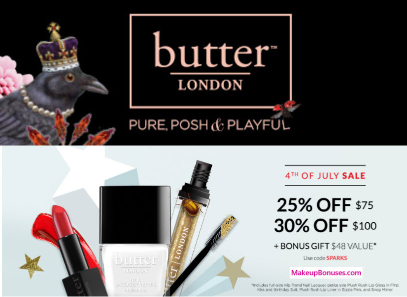 Butter London 5-piece Free Bonus Gift with $75 Purchase & Promo Code SPARKS at Butter London