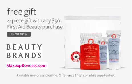 Receive a free 4-pc gift with your $50 First Aid Beauty purchase