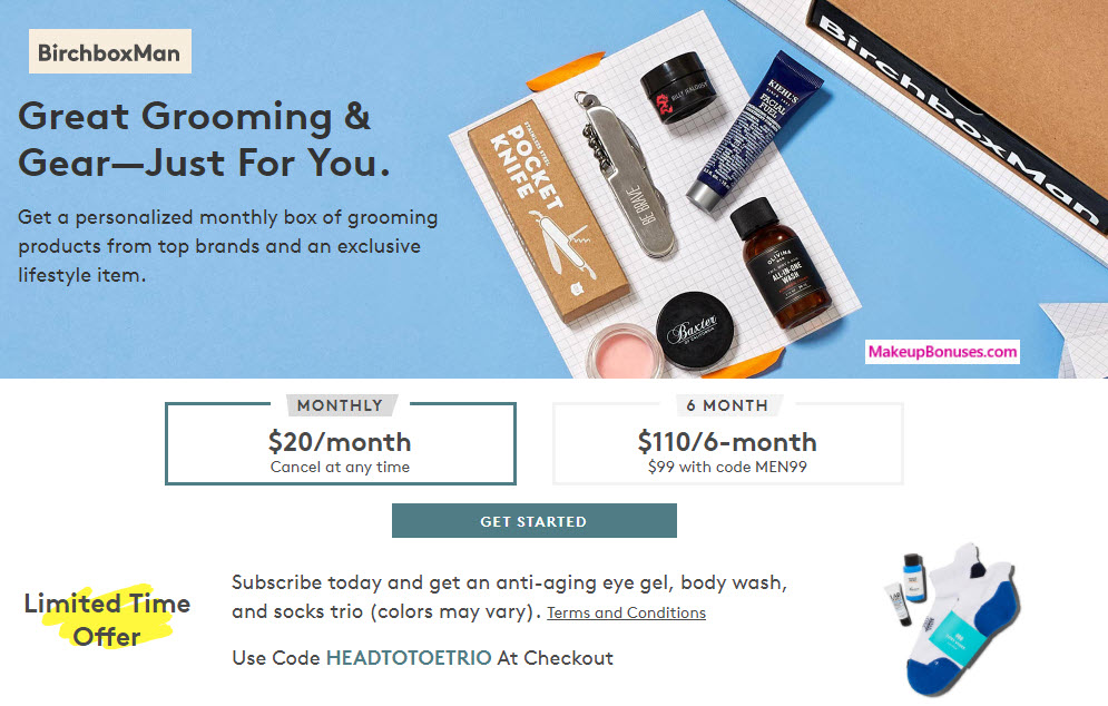 Receive a free 3-pc gift with your Men's Monthly Subscription (Recurring Cost) purchase