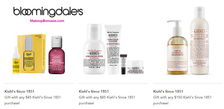 Receive a free 8-pc gift with your $150 Kiehl's purchase
