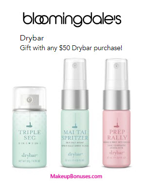 Receive a free 3-pc gift with your $50 drybar purchase
