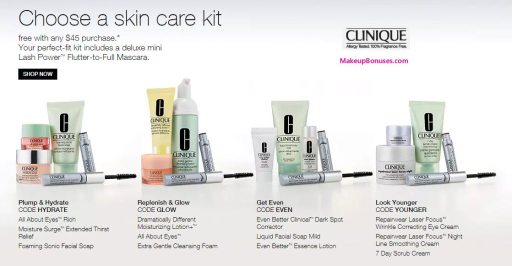 Clinique 4-piece Free Bonus Gift with $45 Purchase & Promo Code HYDRATE, GLOW, EVEN, or YOUNGER at Clinique
