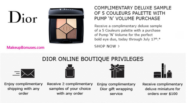 Receive a free 5-pc gift with your Pump 'N' Volume ($29.50) purchase