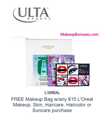 Receive a free 5-pc gift with your $15 L'ORÉAL purchase