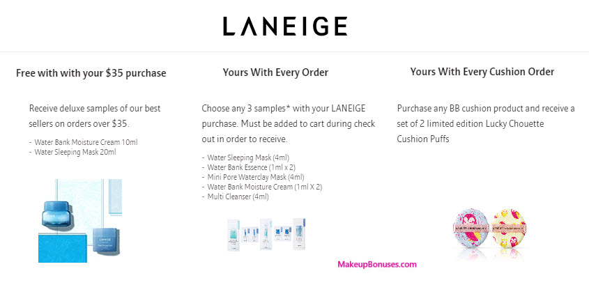 Receive your choice of 5-pc gift with your $35 LANEIGE purchase