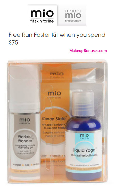 Receive a free 4-pc gift with your $75 Mio Skincare purchase