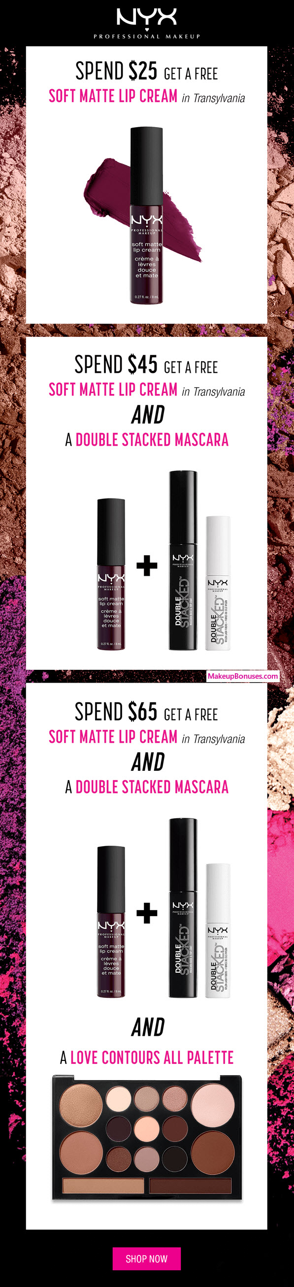 Receive a free 4-pc gift with your $65 NYX Cosmetics purchase