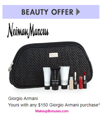 Receive a free 7-pc gift with your $150 Giorgio Armani purchase