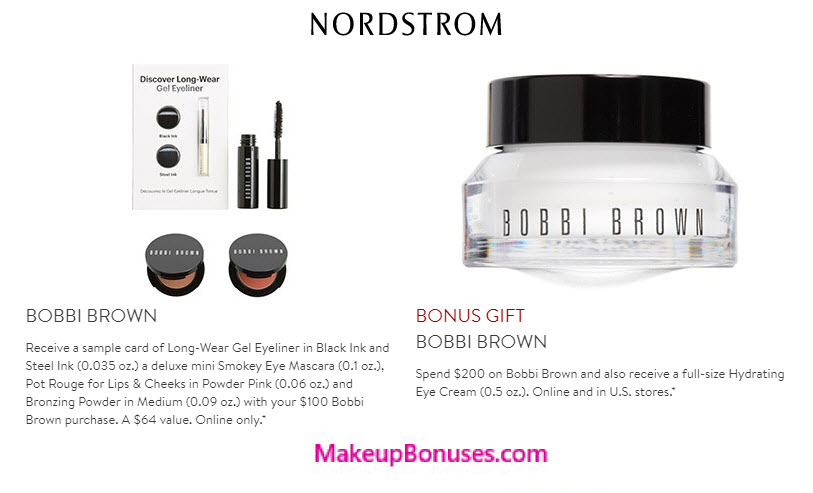 Receive a free 4-pc gift with your $100 Bobbi Brown purchase