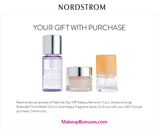 Receive a free 3-pc gift with your $35 Clinique purchase
