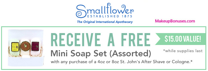 Receive a free 3-pc gift with your 4oz or 8oz St John's After Shave or Cologne purchase