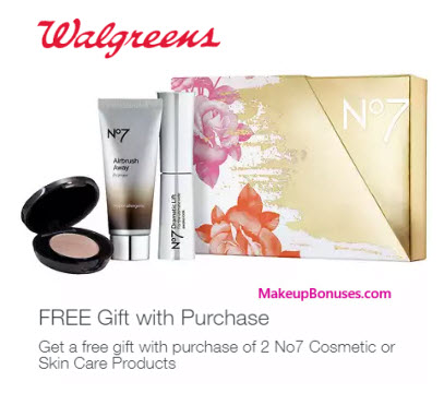 Receive a free 3-pc gift with your 2 No7 Cosmetic or Skincare Products purchase
