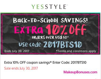 YesStyle Sale - MakeupBonuses.com