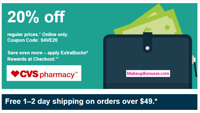cvs 20% off - makeupbonuses.com