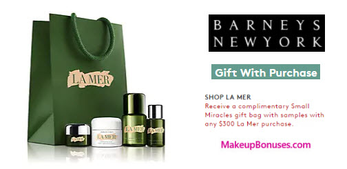 Receive a free 4-pc gift with your $300 La Mer purchase
