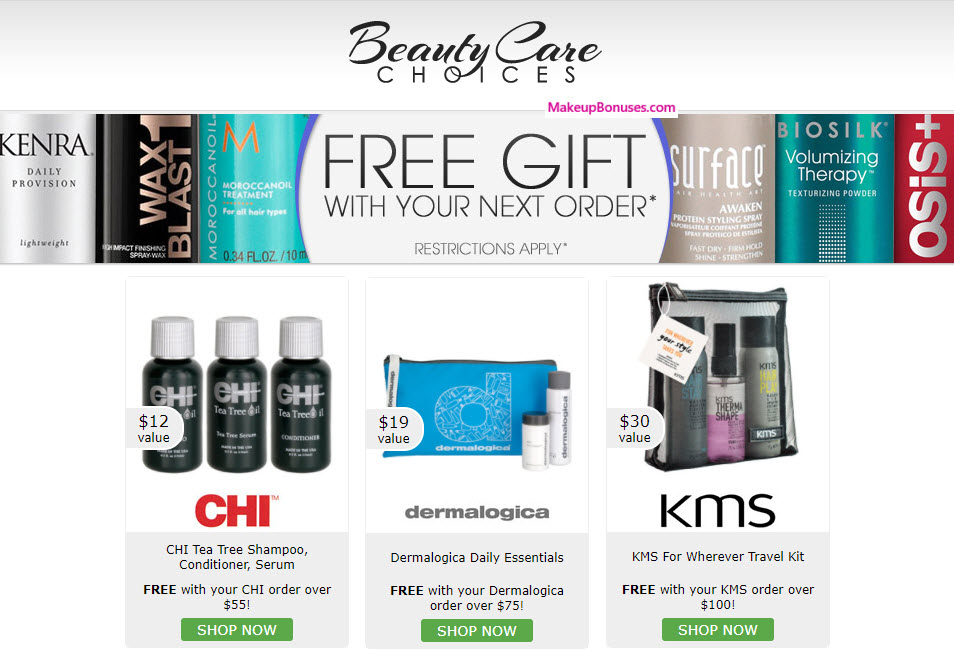 Receive a free 3-pc gift with your $55 CHI purchase
