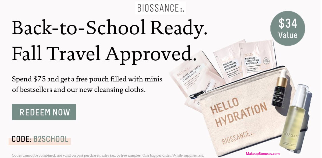 Receive a free 7-pc gift with your $75 Biossance purchase