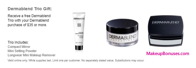 Receive a free 3-pc gift with your $35 Dermablend purchase