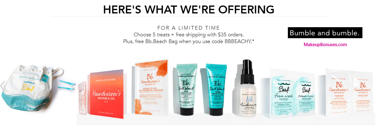 Get more bang for your buck with this great offer from Bumble and bumble! Use the coupon code and enjoy a free Bb Thickening Starter Kit plus a Travel-size Thickening Spray and free shipping with $30 orders! This coupon expired on 09/01/ CDT.