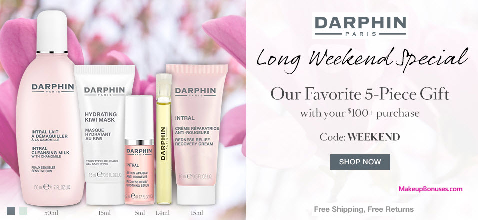 Receive a free 5-pc gift with your $100 Darphin purchase