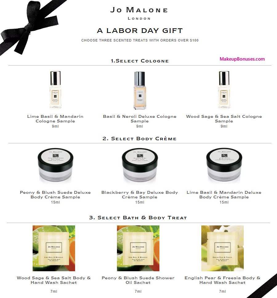 Jo Malone 3 Pc Free Gift With Purchase Makeup Bonuses