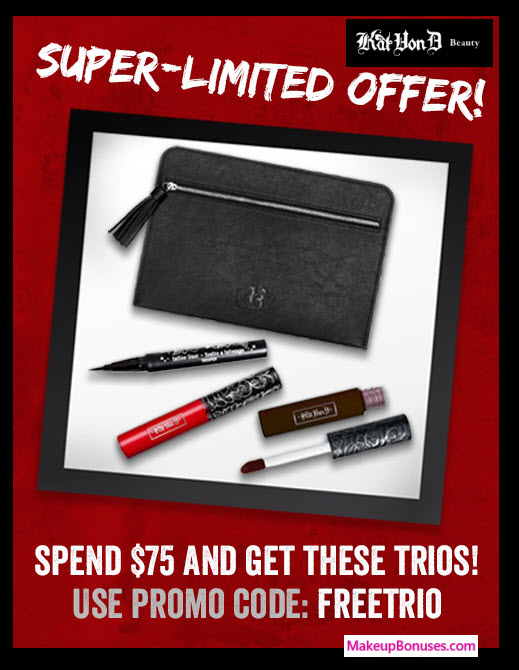 Receive a free 4-pc gift with your $75 Kat Von D Beauty purchase