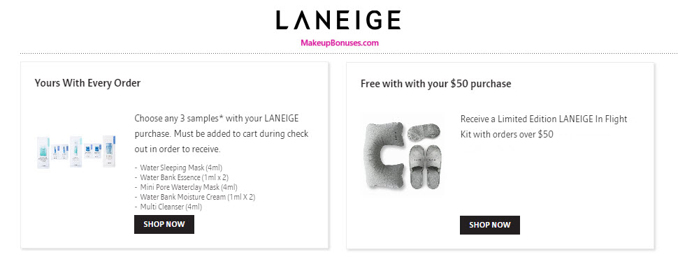 Receive a free 6-pc gift with your $50 LANEIGE purchase