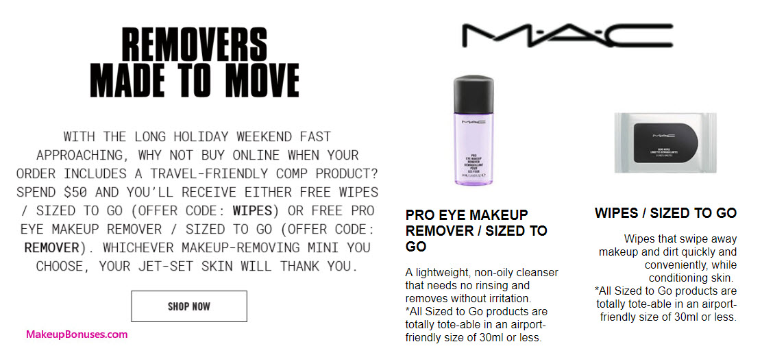 Receive your choice of 30-pc gift with your $50 MAC Cosmetics purchase