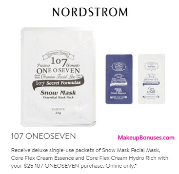 Receive a free 3-pc gift with your $25 107 ONEOSEVEN purchase