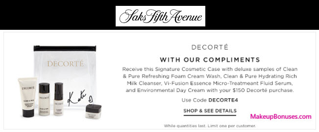 Receive a free 5-pc gift with your $150 Decorté purchase