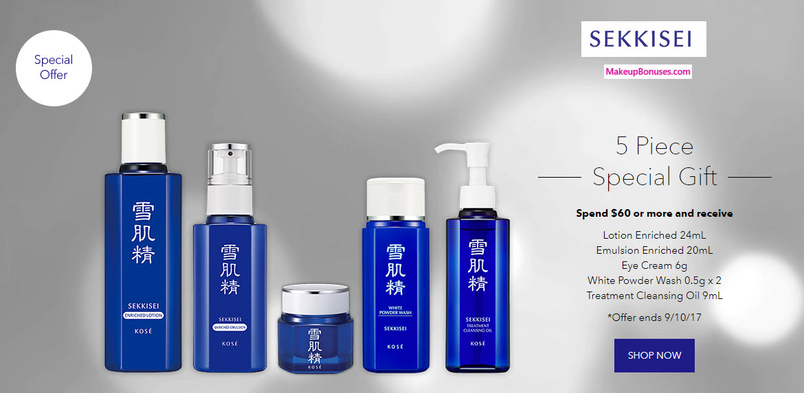 Receive a free 5-pc gift with your $60 Sekkisei purchase