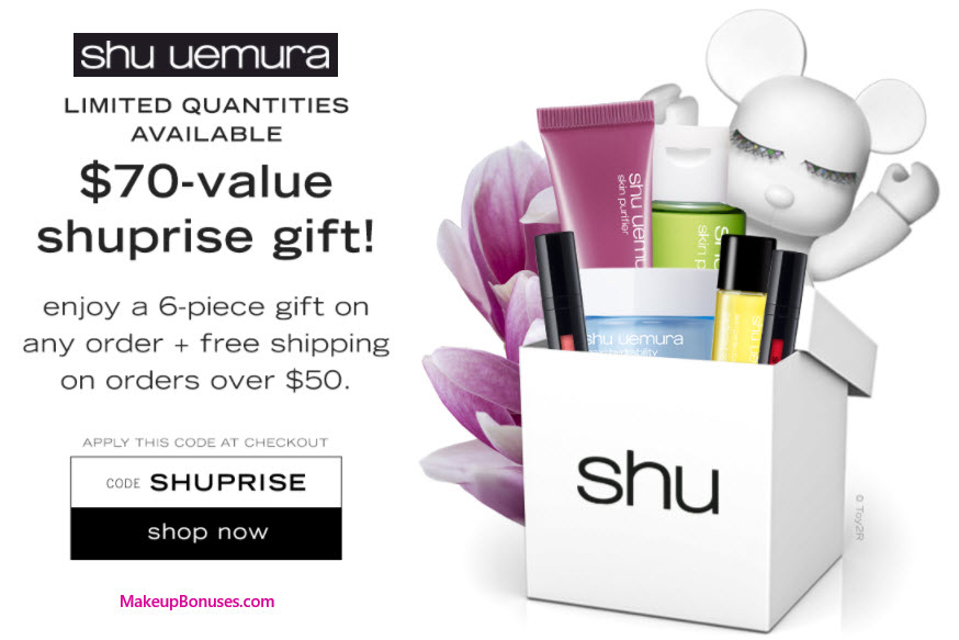 Receive a free 6-pc gift with your $50 Shu Uemura purchase