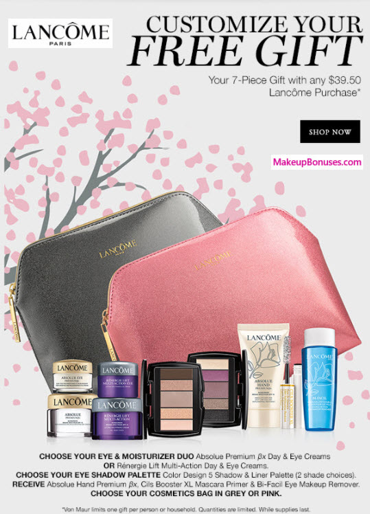 Receive your choice of 7-pc gift with your $39.5 Lancôme purchase