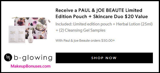 Receive a free 4-pc gift with your $50 Paul & Joe Beaute purchase