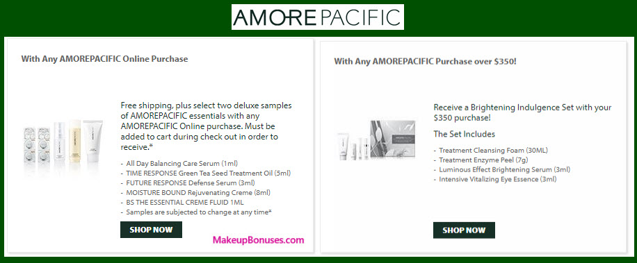 Receive a free 4-pc gift with your $350 AMOREPACIFIC purchase