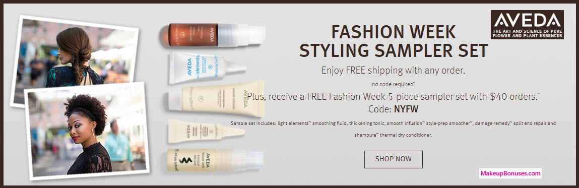 Receive a free 5-pc gift with your $40 Aveda purchase