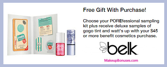Receive a free 3-pc gift with your $45 Benefit Cosmetics purchase