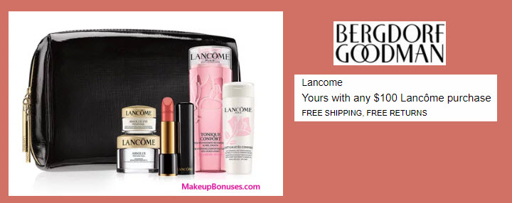 Receive a free 5-pc gift with your $100 Lancôme purchase