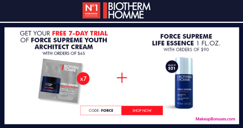 Receive a free 7-pc gift with your $65 Biotherm purchase