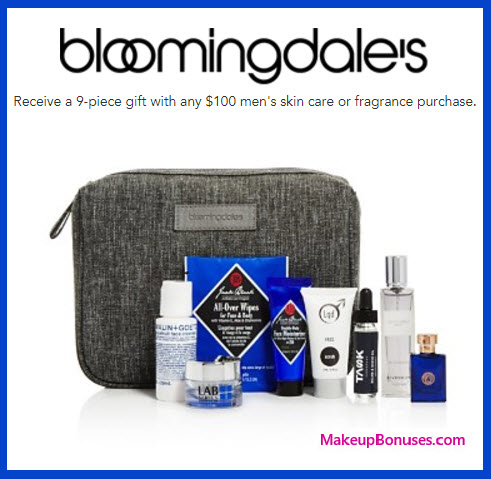 Receive a free 9-pc gift with your $100 Men's Skin Care or Fragrance purchase