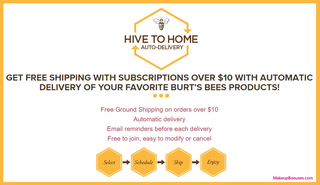 Burt's Bees Auto Delivery Service - MakeupBonuses.com