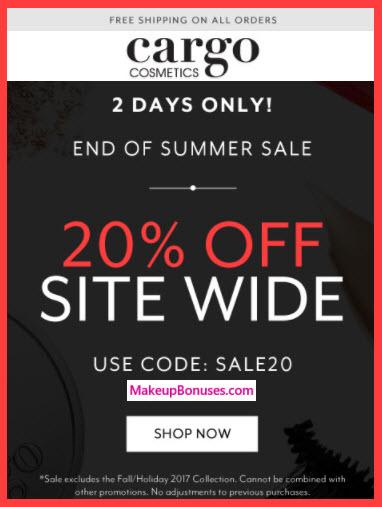 Cargo Cosmetics Sale - MakeupBonuses.com