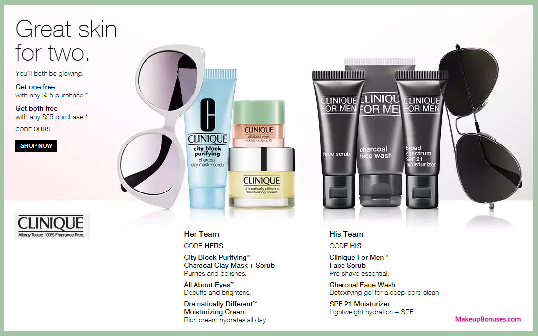 Receive your choice of 3-pc gift with your $35 Clinique purchase